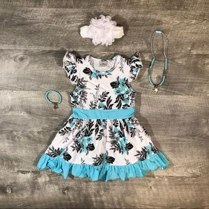 New boutique minty blue and white dress